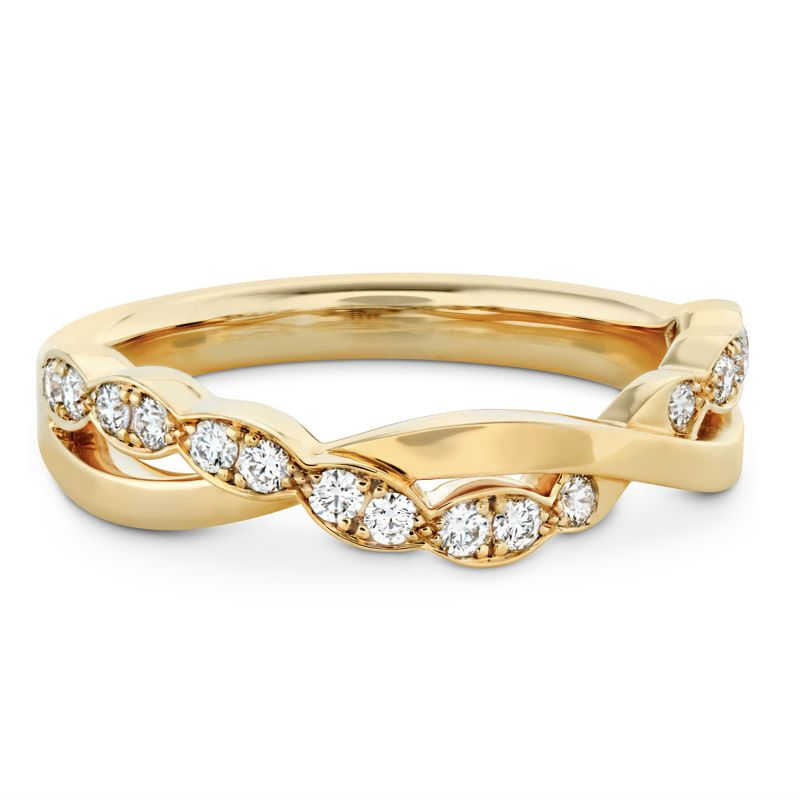 """Hearts on Fire 18K yellow-gold """"Lorelei"""" twisted band, price upon request at Sandler's Diamonds & Time"""