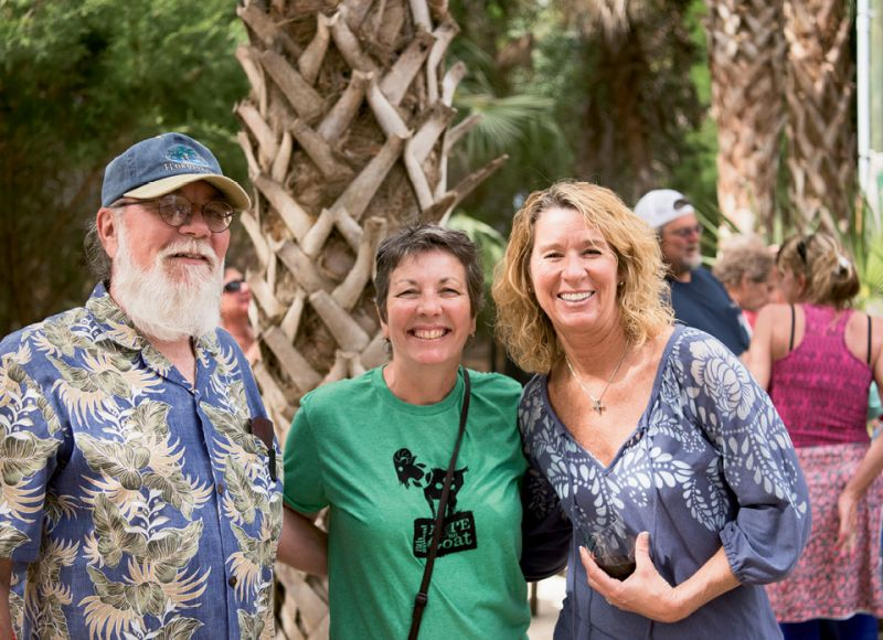 Gary Lyons with Goat Island Gatherings owner Diann Lyons Clark and Sunday Guerry