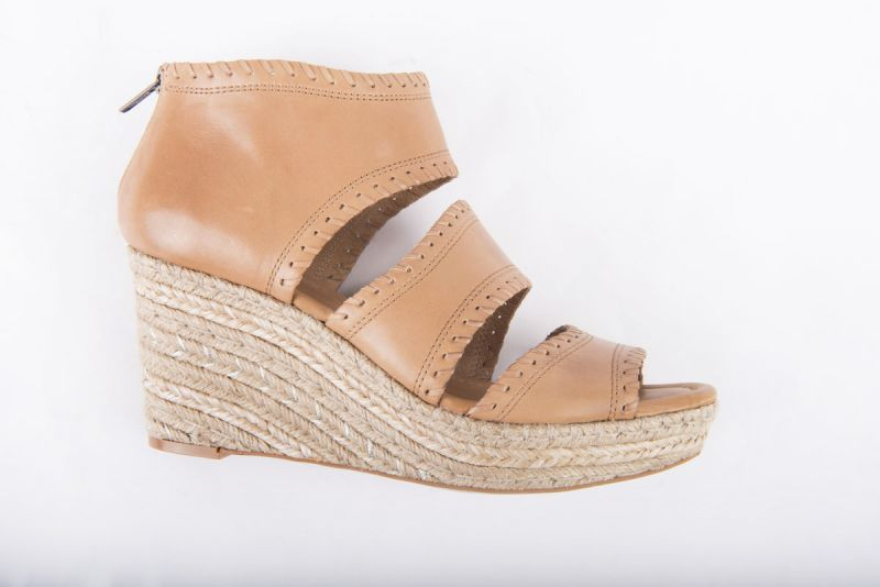 """CC Corso Como """"Joyce"""" wedge espadrille in camel brushed leather, $169 at Copper Penny"""