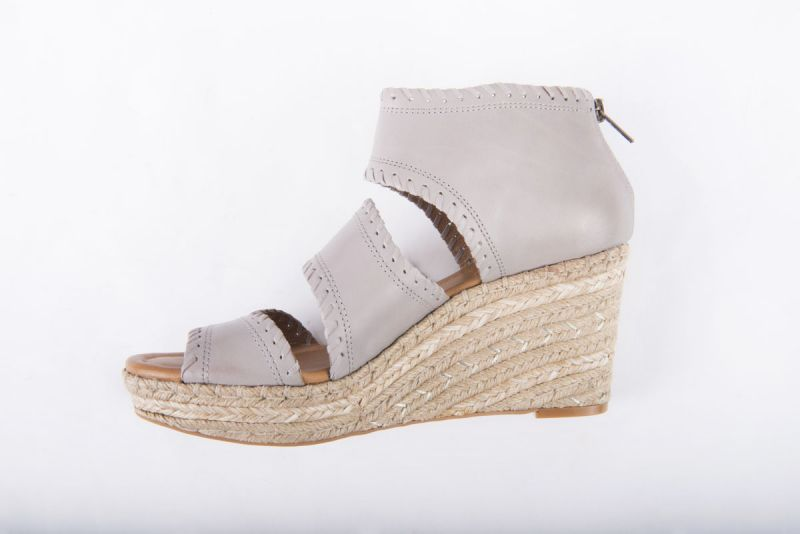 """CC Corso Como """"Joyce"""" wedge espadrille in grey brushed leather, $169 at Copper Penny"""