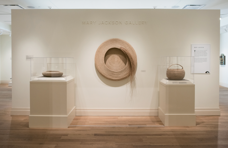Modern Master: When the Gibbes reopened after an extensive renovation in 2016, the modern and contemporary galleries were named in Jackson's honor. Her pieces are part of the museum's permanent collection, including (center) Never Again and (right) Cobra with Handle (circa 1980; sweetgrass, bullrush, and palmetto; 15 x 16 inches), as well as (left) Diploma (sweetgrass, bulrush, and palmetto) which is on loan from a private collection.