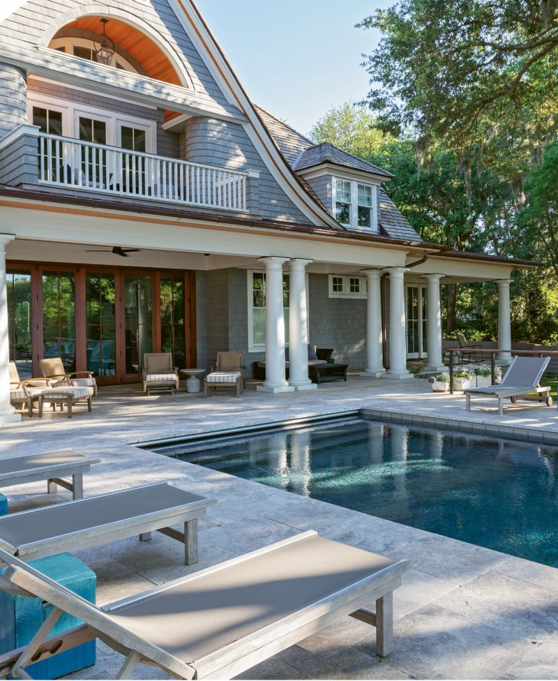DIVE IN: What could be better than a home on deep water? One with an infinity pool and plenty of comfortable perches for taking in the marsh and river views.