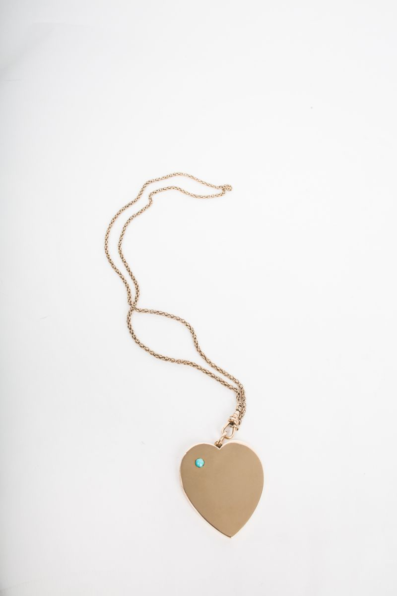 14K yellow gold chain with 15K yellow gold Heart Locket with Turquoise, $6,790 at Croghan's Jewel Box