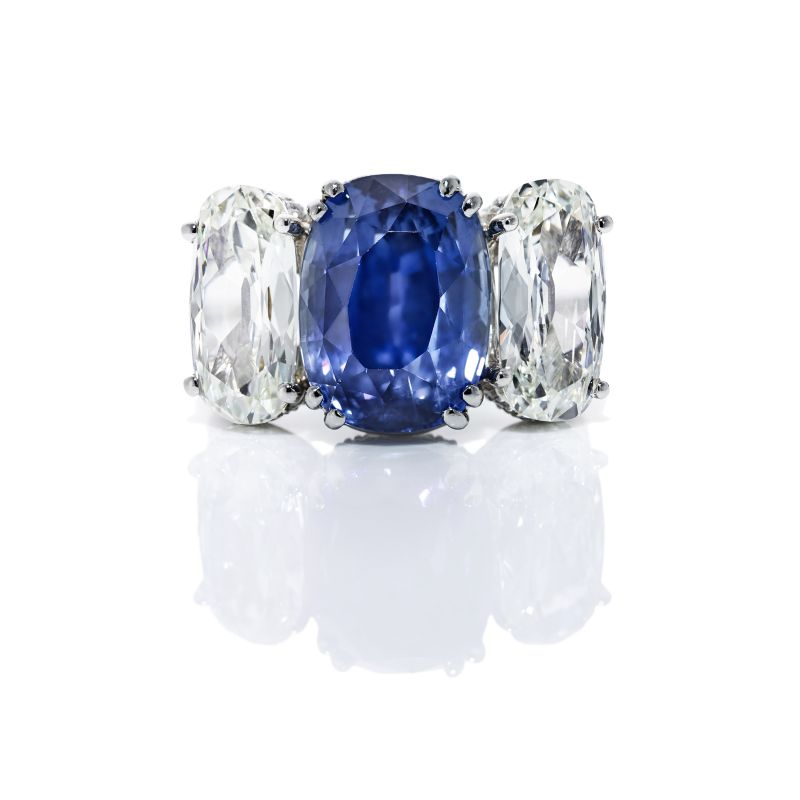 Kiersten Elizabeth Fine Jewelry GIA Certified 14.04 ct cushion-cut sapphire and cushion diamond platinum ring, $123,250 at kierstenelizabethfinejewelry.com