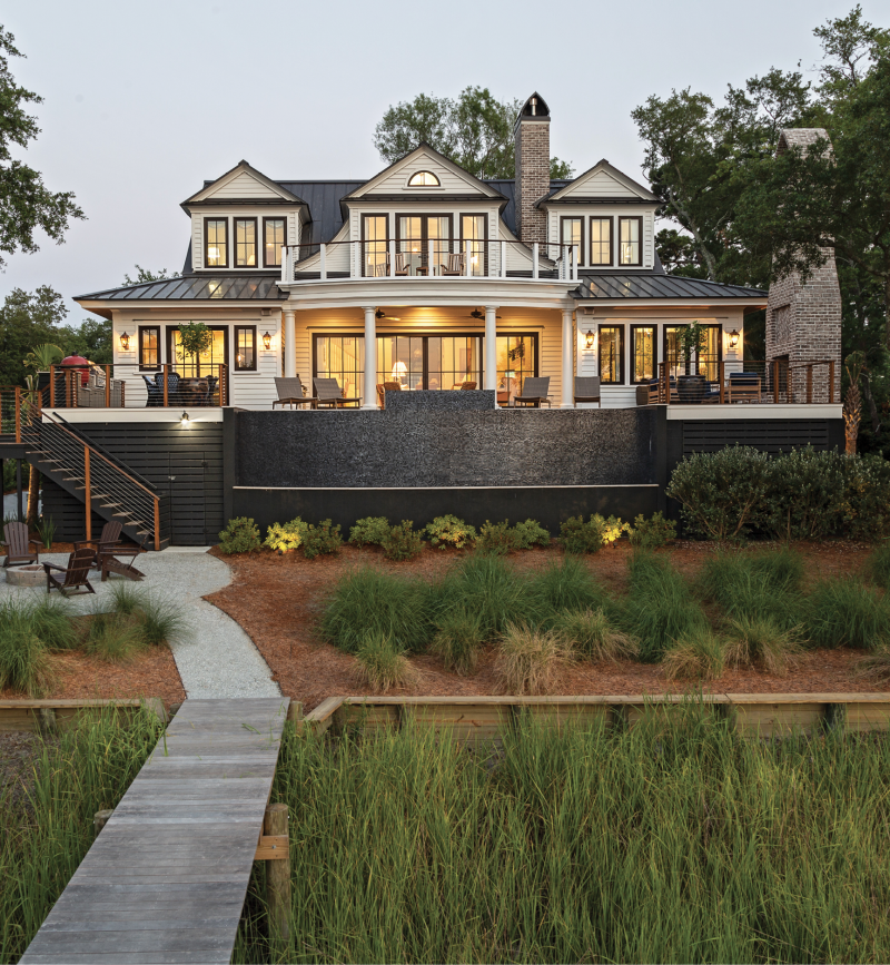 """WHAT DREAMS ARE MADE OF: Martha Nagle-Halvorson wanted to build her dream home as a replica of the classic Lowcountry houses she grew up surrounded by during her childhood. """"I didn't want anything over-the-top or too big,"""" she says. The result is a beautiful, 3,400-square-foot home that perfectly marries traditional architecture with modern outdoor living, while taking in quite possibly the best views in all of Charleston."""