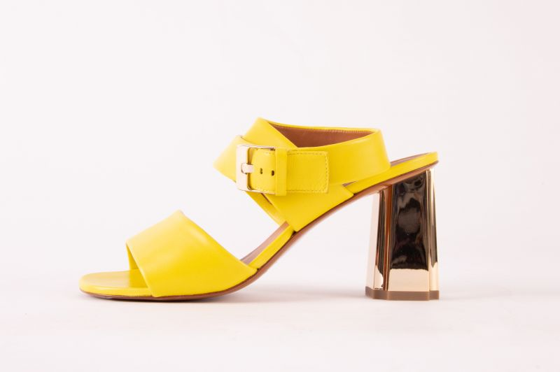 "Clergerie Zora sandal in ""lemon,"" $595 at Hampden"