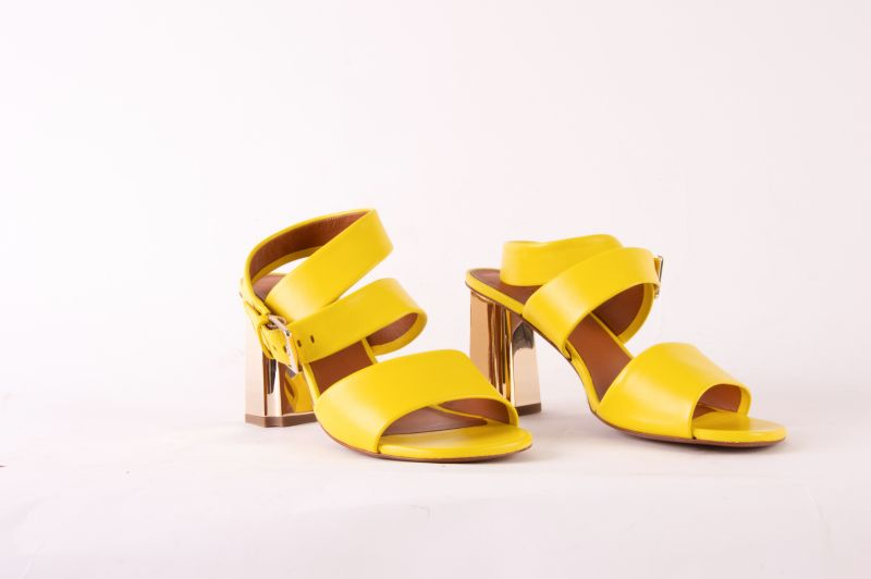"Clergerie ""Zora"" sandal in ""lemon,"" $595 at Hampden"