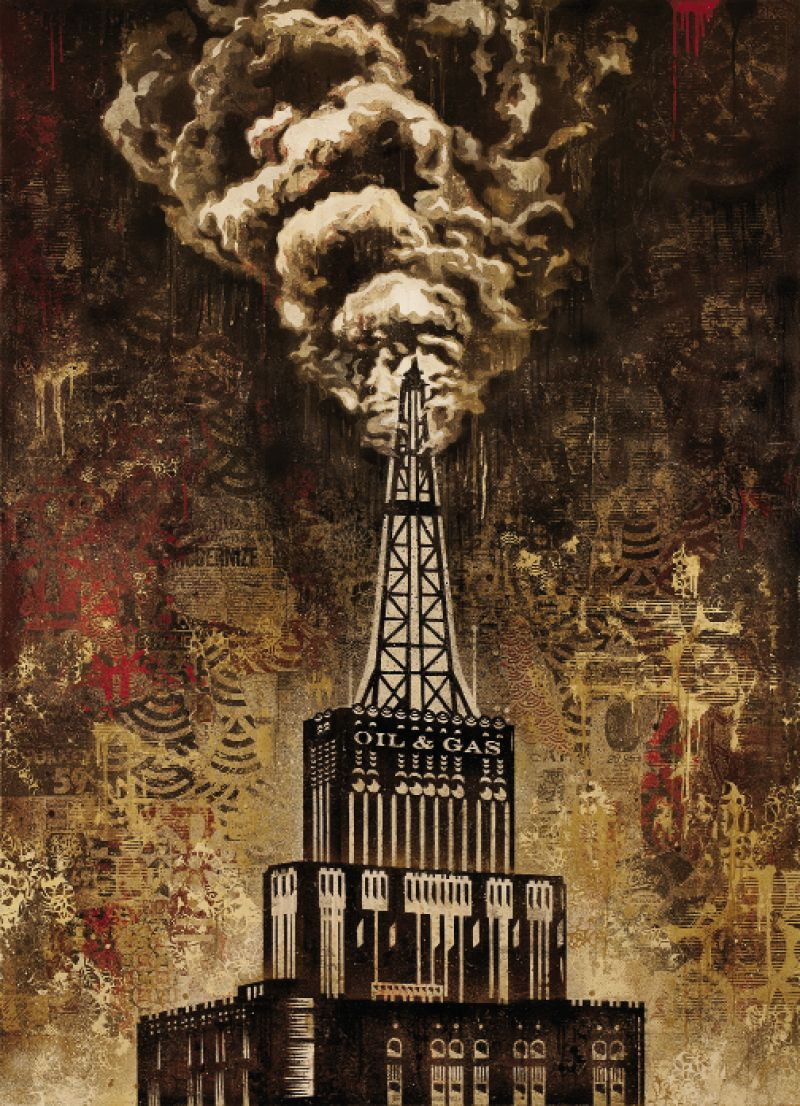 il & Gas Building by Shepard Fairey,  2014, mixed-media painting on canvas,  44 x 60 inches; copyright 2014 Shepard Fairey, courtesy of Halsey Institute of Contemporary Art