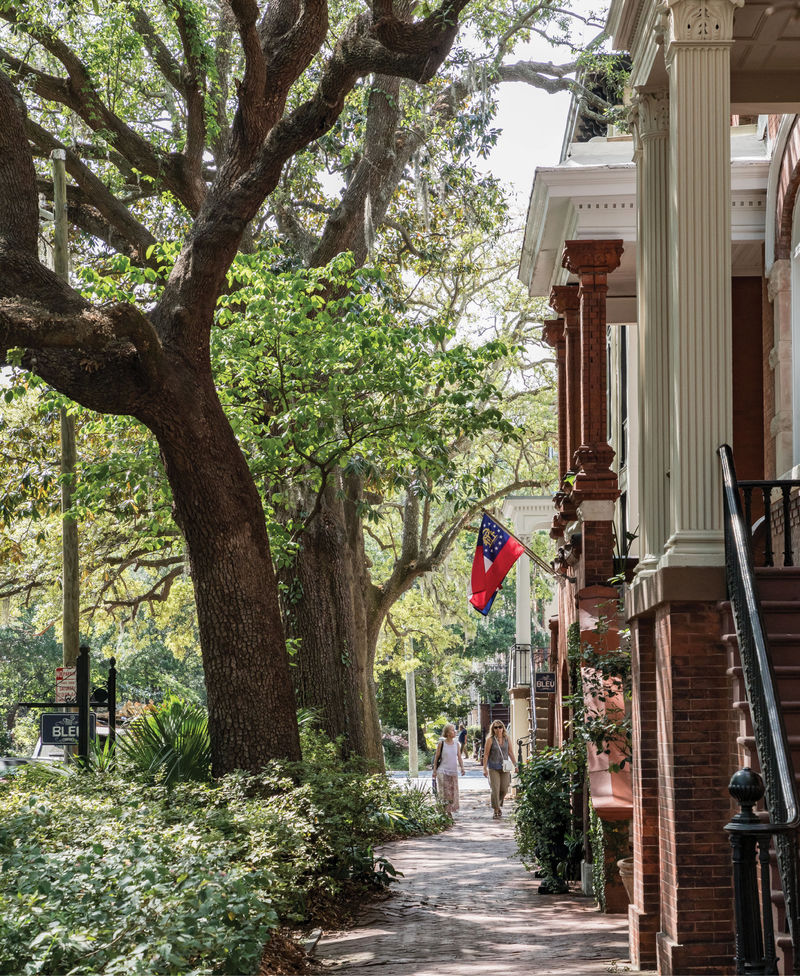 A shaded neighborhood walkway in the Historic District