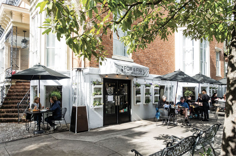 Cafe seating and vegan fare at Fox & Fig