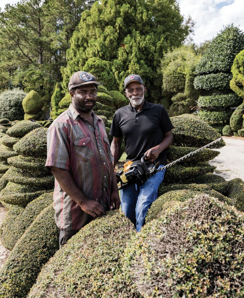 """Helping Hand: """"One thing about life: no matter who you are, one day Old Man Time will slow you down,"""" says Fryar, who will turn 80 in December. He's pictured here with his longtime assistant, Michael Baker."""