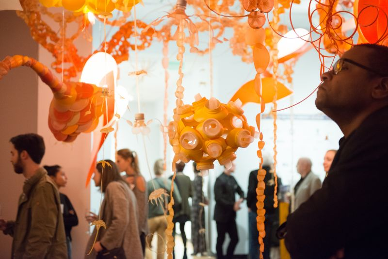 """Guests admire Aurora Robson's installation, """"The Tide is High."""""""