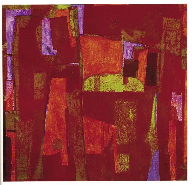 Red Square by William Halsey,  1997, oil/collage on Masonite;  courtesy of Halsey/McCallum Studio