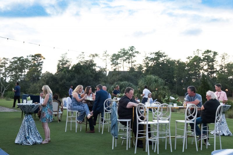 Guests snack on small plates and take in the scenery.