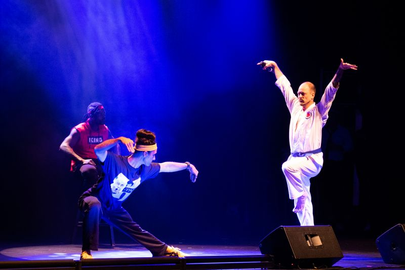 "Hosts Ryan Becknell and Geoff Richardson, perform a kung-fu-themed opening act entitled ""Lips of Fury"""
