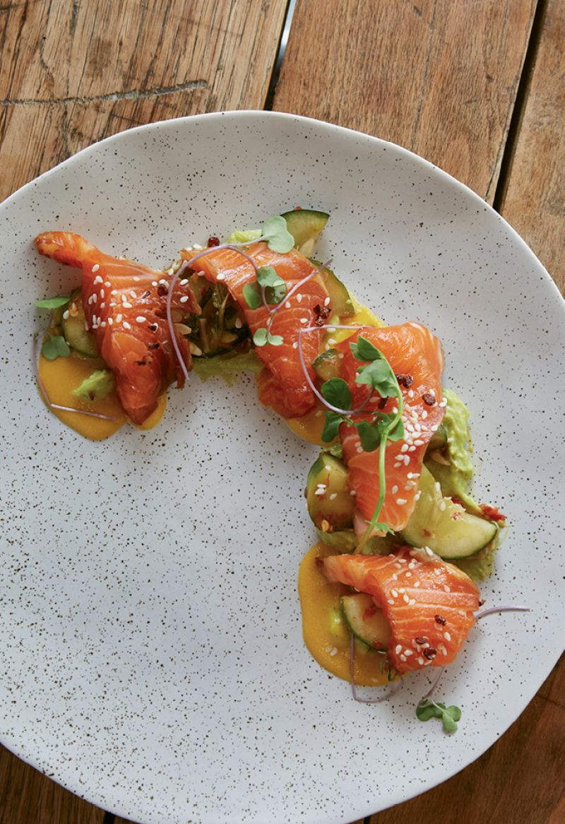 Avocado puree and Szechuan chili oil with marinated trout