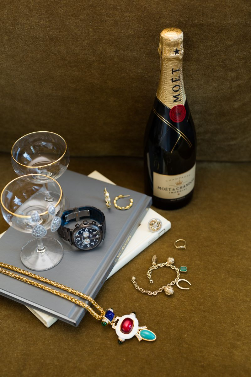 "Satin-gold and pearl hoop earrings, $115 at Croghan's Jewel Box; Gold Creations 14K-yellow-gold and diamond ""Circle Gate"" ring, $2,550 at Gold Creations; Elizabeth and James ""Apollo"" ring, $95, Elizabeth and James gold-plate ""Tessa"" charm bracelet, $215, estate Deco drop pendant necklace, $300, Freida Rothman rhodium ""Rosecut Large Drop Stone"" earrings, $285, all at Croghan's Jewel Box; Shinola ""The Rambler"" tachymeter watch, $1,100 at M. Dumas & Sons"
