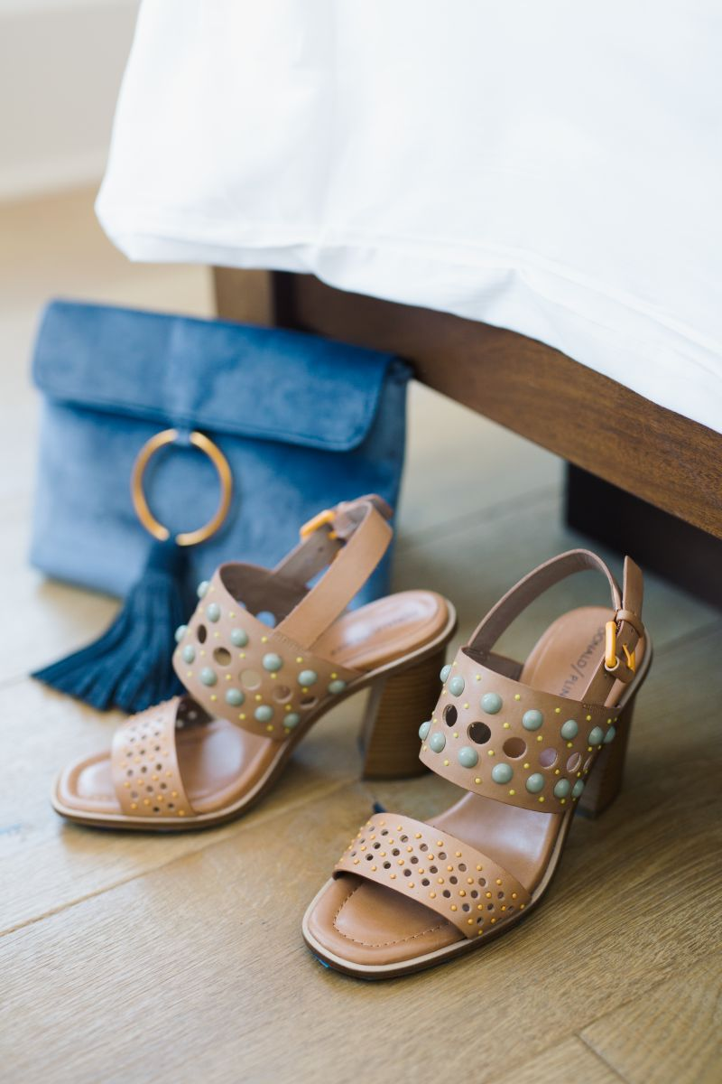 """Blue velvet clutch, $64 at Julep; Donald Pliner """"Estee"""" studded leather sandals, $248 at Gwynn's of Mount Pleasant"""
