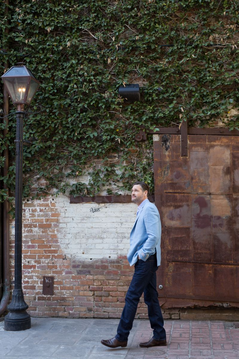 Samuelsohn wool-linen blend sport coat, $1,295, Robert Talbott tailored-fit printed cotton shirt, $198, both at M. Dumas & Sons; Ike Behar denim, $175 at Ike Behar; Martin Dingman croc-print belt, $98 at M. Dumas & Sons