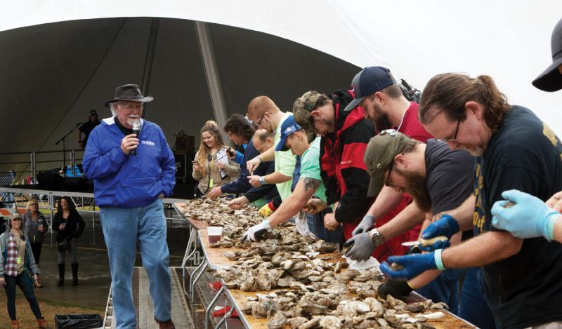 The competition was fierce in the oyster-shucking showdown, hosted by Blue Point Brewing Company.