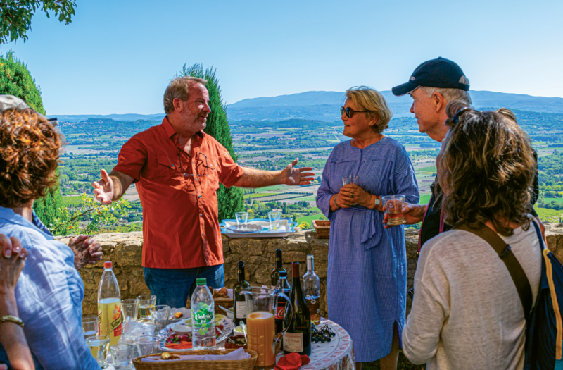 Chef Bob and friends with Madame Anne Morand in her gardens above the Caves Palais du Saint-Fermin in Gordes, France