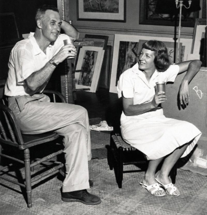 William Halsey and Corrie McCallum in their Fulton Street studio in 1955