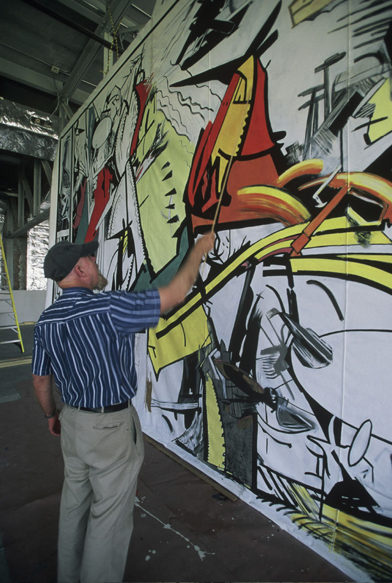 Manning Williams at work on his piece