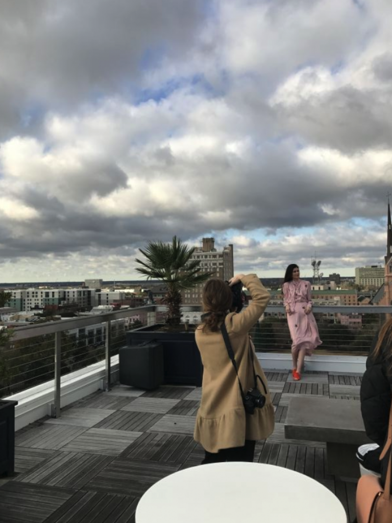Model Anna Lassiter Gruenloh on The Dewberry rooftop