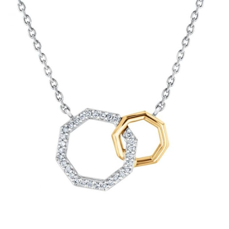 "REEDS exclusive Stop Collection 1/10 ctw ""Two-Tone Interlocking Octagon Diamond Necklace,"" $150 at REEDS Jewelers"