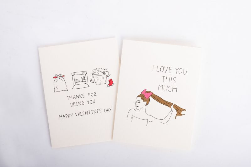 "Chalkscribe ""Love You This Much"" and ""Thanks For Being You"" cards, $5, both available at Mac & Murphy"
