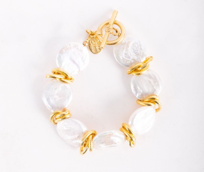 "Susan Shaw ""Coin Pearl"" bracelet, $112 at Jude Connally"