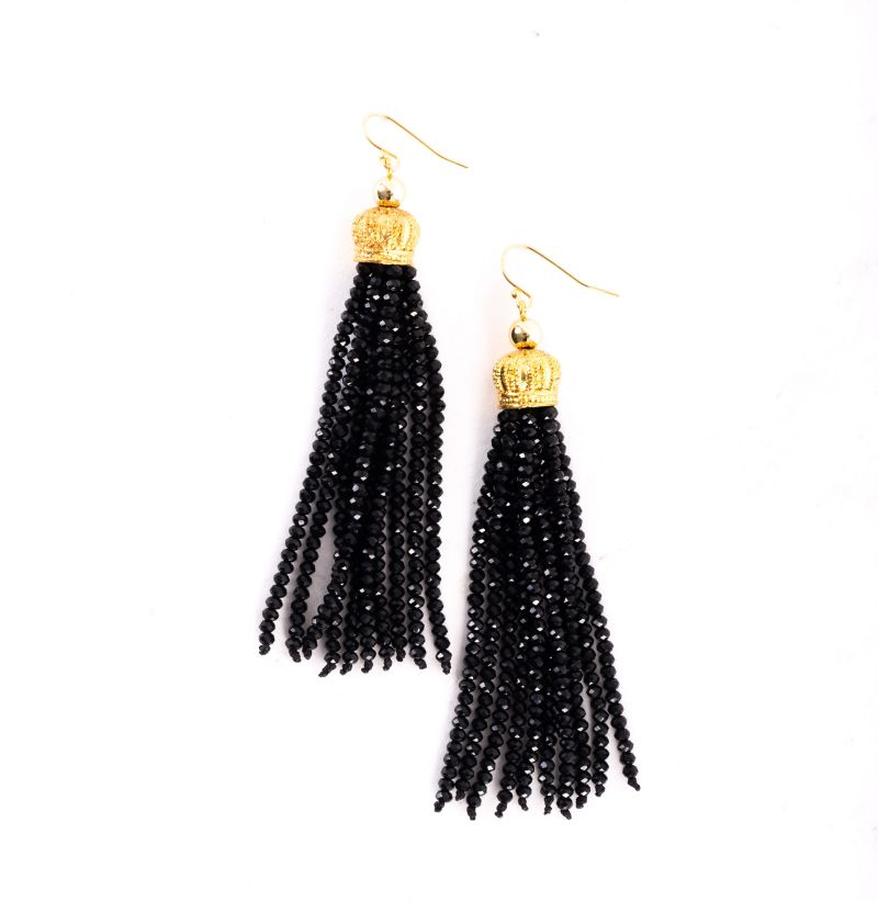 "Susan Shaw ""Beaded Tassel"" earrings in black, $48 at Jude Connally"