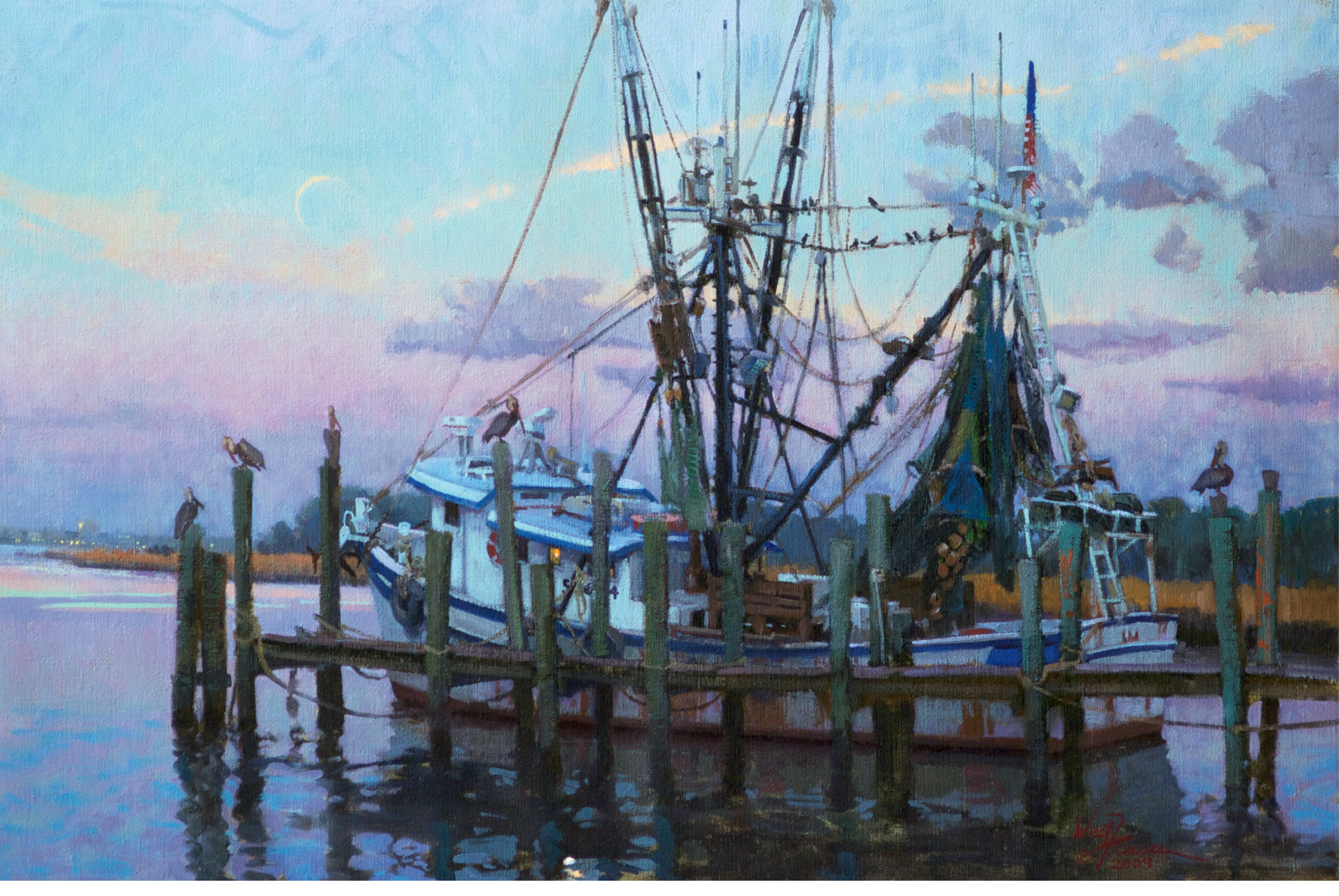 The Resting Fleet (Mount Pleasant, South Carolina; oil;  20 × 30 inches; 2010; collection of Mr. and Mrs. M. Jude Reyes)