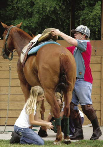 Children—Such as Morgan and Alston Limehouse (top, right), who help unwrap and unsaddle—are part of the horse aftercare routine that includes hot walking and grazing.