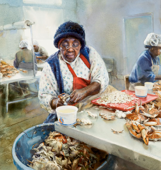 Whyte paid her subjects for their time but allowed no primping. She wanted to capture the reality of their labor, as she does in Disciple, where Miss Thelma, a crab picker in Hacks Neck, Virginia, swiftly picks and sorts the meat from a day's catch (watercolor on paper, 21 3/4 by 19 1/4 inches, 2009).